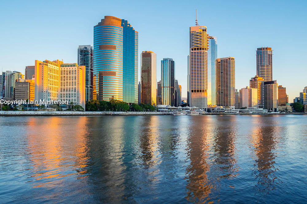 Dawn view of skyline of central business district of Brisbane in Queensland Australia