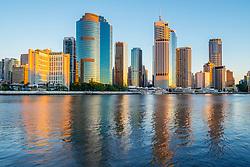 Dawn view of skyline of central business district of Brisbane in Queensland Australia
