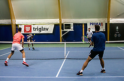 Bor Muzar Schweiger and Aljaz Jakob Kaplja playing final match against Toni Hazdovac and Sven Lah during Slovenian men's doubles tennis Championship 2019, on December 29, 2019 in Medvode, Slovenia. Photo by Vid Ponikvar/ Sportida