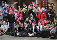 Headley Court Defence Medical Rehabilitation Centre - Farewell Parade, Dorking High Street<br /> <br /> Children wait for the armed forces, veterans, cadets and other personnel from Headley Court to pass through Dorking's High Street<br /> <br /> COLORSPORT/ANDREW COWIE
