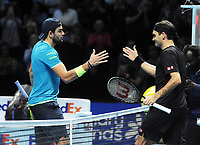 Tennis - 2019 Nitto ATP Finals at The O2 - Day Three<br /> <br /> Singles Group Bjorn Borg: Roger Federer (Switzerland) vs. Matteo Berrettini (Italy)<br /> <br /> Matteo Berrettini congratulates Federer at the net after the match<br /> <br /> COLORSPORT/ANDREW COWIE