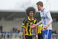 Burton No.34 Hamza Choudhury before being sent off for two yellow cards in the Sky Bet League 1 match between Burton Albion and Bury at the Pirelli Stadium, Burton upon Trent, England on 2 April 2016. Photo by Nigel Cole.