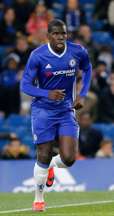 Chelsea's Kurt Zouma seen during the Checkatrade Trophy match between Chelsea U21's and Oxford United at Stamford Bridge in London. November 8, 2016.<br /> Carlton Myrie / Telephoto Images<br /> +44 7967 642437