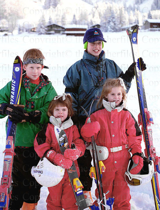 Prince William and Prince Harry seen with their cousins Princess Beatrice and Princess Eugenie during a ski holiday in klosters, Swizerland in 1995. Photographed by Terry Fincher