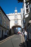 East Gate Tudor arch in the High Street at Totnes, Devon, England