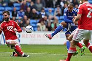 Kenneth Zohore of Cardiff city © has a shot at goal.  EFL Skybet championship match, Cardiff city v Nottingham Forest at the Cardiff City Stadium in Cardiff, South Wales on Easter Monday 17th April 2017.<br /> pic by Andrew Orchard, Andrew Orchard sports photography.