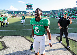 Oct 9, 2021; Huntington, West Virginia, USA; Marshall Thundering Herd defensive back Micah Abraham (6) celebrates after defeating the Old Dominion Monarchs at Joan C. Edwards Stadium. Mandatory Credit: Ben Queen-USA TODAY Sports
