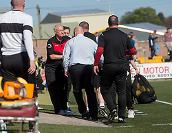 Forfar Athletic's manager Gary Bollan at the end. Forfar Athletic 2 v 4 Annan Athletic, Scottish Football League Division Two game played 6/5/2017 at Station Park.