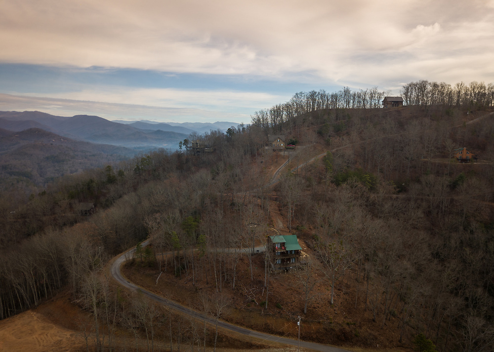 BRYSON CITY, NORTH CAROLINA - CIRCA DECEMBER 2019: Aerial view of typical mountain vacation cabins close to Bryson City, North Carolina