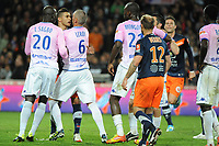 FOOTBALL - FRENCH CHAMPIONSHIP 2011/2012 - L1 - MONTPELLIER HSC v EVIAN TG - 1/05/2012 - PHOTO SYLVAIN THOMAS / DPPI - YOUNES BELHANDA (MHSC) / JEROME LEROY (EVIAN)