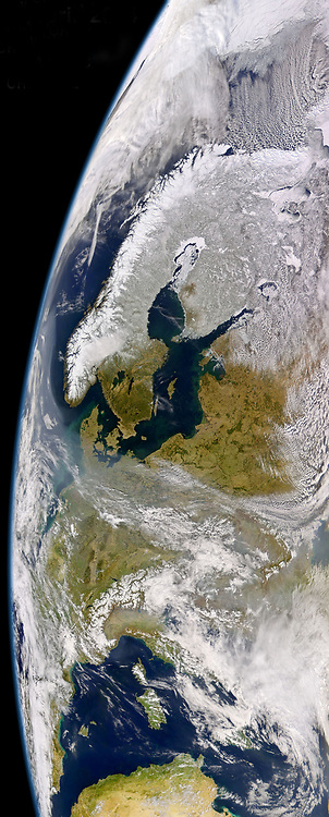 Satellite image of North Western and Central Europe showing snow cover