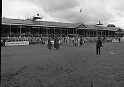 Shell Puissance Competition R.D.S..1985..07.08.1985..08.07.1985..7th August 1985..The Shell sponsored Puissance was held in the R.D.S.Dublin during Dublin Horse Show week..Image shows officials of the course preparing the ground for the Irish Shell sponsored event.