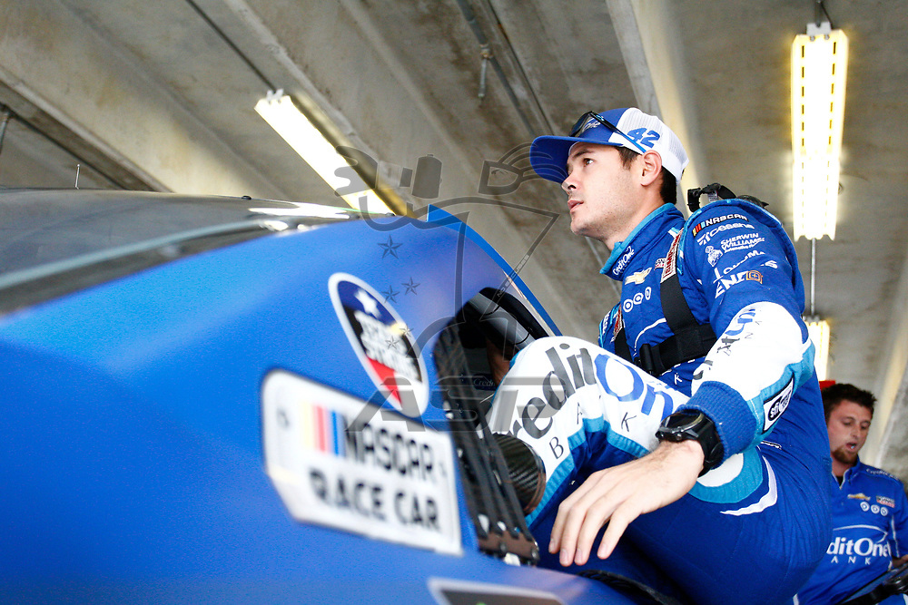 November 03, 2017 - Ft. Worth, Texas, USA: Kyle Larson (42) hangs out in the garage during practice for the AAA Texas 500 at Texas Motor Speedway in Ft. Worth, Texas.