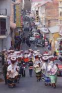Bolivia. Tarija. Festa di San Roque..The Chunchos is coming to the church and the city follows its usual rhythm.