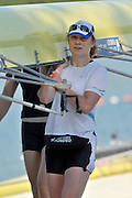 Banyoles, SPAIN, Alice FREEMAN GBR W4-, helps, carry  the boat  back to the boat racks.  FISA World Cup Rd 1. Lake Banyoles Saturday - 30/05/2009   [Mandatory Credit. Peter Spurrier/Intersport Images]