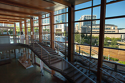 United States, Washington, Bellevue, interior grand staircase of Bellevue City Hall, and view of Meydenbauer Center