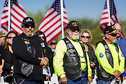 08 OCTOBER 2013 - PHOENIX, AZ:  US military veterans at a ceremony interring the cremated remains of unclaimed US military veterans at the National Memorial Cemetery in Phoenix. The cremated remains of 36 unclaimed US military veterans were interred at the National Memorial Cemetery in Phoenix. Members of the US military and several hundred veterans of the US military attended the service, which was a part of the Missing In America Project (MIAP).   PHOTO BY JACK KURTZ
