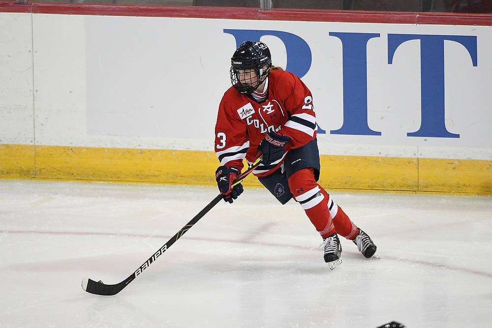 ERIE, PA - MARCH 05: Ellie Marcovsky #23 of the Robert Morris Colonials attempts a pass in the first period during the game against the Mercyhurst Lakers at the Erie Insurance Arena on March 5, 2021 in Erie, Pennsylvania. (Photo by Justin Berl/Robert Morris Athletics)