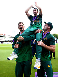 Chris Read of Nottinghamshire is lifted on the shoulders of his teammates after their side's win over Surrey to win the Royal London One Day Cup Final - Mandatory by-line: Robbie Stephenson/JMP - 01/07/2017 - CRICKET - Lord's Cricket Ground - London, United Kingdom - Nottinghamshire v Surrey - Royal London One-Day Cup Final 2017