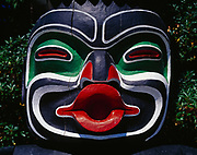 Face of Dzunukwa, the giantess who brought magic and wealth to her people, on the Ga'akstalas Pole, carved by Wayne Alfred and Beau Dick in 1991 and based on a Kwakwaka'wakw design by Russell Smith.  Totem pole on display at Stanley Park, Vancouver, British Columbia, Canada.