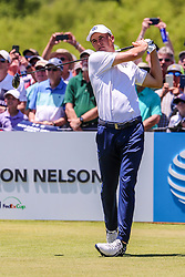 May 17, 2018 - Dallas, TX, U.S. - DALLAS, TX - MAY 17:  Jordan Spieth tees off on the first hole during the first round on May 17, 2018 at the 50th AT&T Byron Nelson at the Trinity Forest Golf Club in Dallas, Texas. (Photo by Matthew Pearce/Icon Sportswire) (Credit Image: © Matthew Pearce/Icon SMI via ZUMA Press)