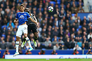 Dominic Calvert-Lewin of Everton and Victor Moses of Chelsea jump for the ball. Premier league match, Everton v Chelsea at Goodison Park in Liverpool, Merseyside on Sunday 30th April 2017.<br /> pic by Chris Stading, Andrew Orchard sports photography.
