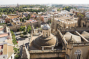Top view of the Sacristia Mayor dome from the top of La Giralda (cathedral tower) in Sevilla, Andalusia, Spain.
