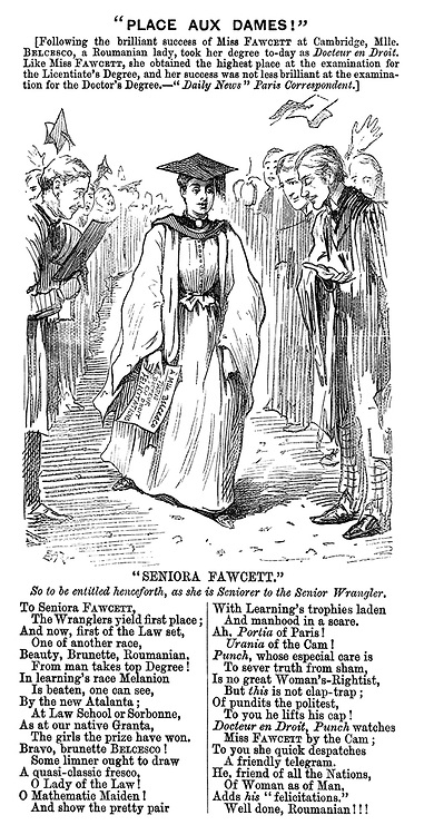 """""""Place aux Dames!"""" [Following the brilliant success of Miss Fawcett at Cambridge, Mlle. Belcesco, a Romanian lady, took her degree to-day as doctor en droit. Like Miss Fawcett, she obtained the highest place at the examinations for the licentiate's degree, and her success was not less brilliant at the examination for the Doctor's Degree.- Daily News"""" Paris correspondent.] (a Victorian cartoon shows a woman receiving congratulations by male academics for passing her Doctor's Degree)"""