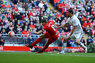 Steven Gerrard of Liverpool legends team shoots and scores his teams 4th goal. Liverpool Legends  v Real Madrid Legends, Charity match for the LFC Foundation at the Anfield stadium in Liverpool, Merseyside on Saturday 25th March 2017.<br /> pic by Chris Stading, Andrew Orchard sports photography.