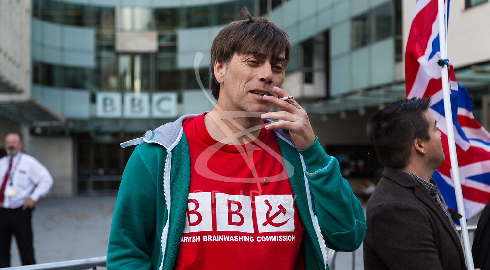 """London, November 05 2017. Protesters from the People's Charter Foundation, whose website states """"We demand for proper Brexit, and for Britain to ban Sharia law"""", demonstrate outside the BBC's New Broadcasting House against what they claim is left wing, pro-remain Bias by the BBC, and against the corporations's licence fee, which they state is outdated.  © Paul Davey"""
