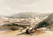 The town of Hebron (al-Khalīl). Coloured lithograph by Louis Haghe after David Roberts, 1843.