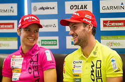 Teja Gregorin and Jakov Fak at press conference during media day of Slovenian biathlon team before new season 2013/14 on November 14, 2013 in Rudno polje, Pokljuka, Slovenia. Photo by Vid Ponikvar / Sportida