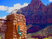 Southern Utah, Zion National Park, park sign