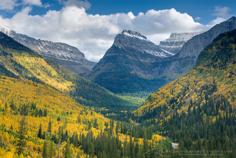 Autumn view of McDonald Creek Valley from the Going To The Sun Road Glacier National Park Montana USA