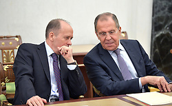 June 26, 2017 - Moscow, Russia - June 26, 2017. - Russia, Moscow. - Aleksander Bortnikov, Director, Federal Security Service (FSB), and Sergey Lavrov (right), Foreign Minister, seen to attend the Russian President's meeting with the Russian Security Council members. (Credit Image: © Russian Look via ZUMA Wire)
