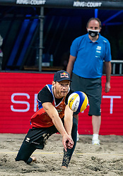 Alexander Brouwer in action during the first day of the beach volleyball event King of the Court at Jaarbeursplein on September 9, 2020 in Utrecht.