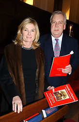 MR DAVID McDONOUGH and LADY MARY-GAYE CURZON at a carol concert in aid of the Institute of Cancer Research at the Royal Hospital Chapel, Chelsea on 2nd December 2004.<br /><br />NON EXCLUSIVE - WORLD RIGHTS