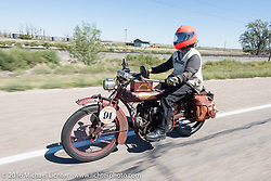 Ziggy riding his 1916 Indian through the eastern plains of Colorado during the Motorcycle Cannonball Race of the Century. Stage-9 Dodge City, KS to Pueblo, CO. USA. Monday September 19, 2016. Photography ©2016 Michael Lichter.
