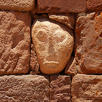 "South America, Bolivia, Tiwanaku. ""Alien"" Stone Tenon Head of Pre-Columbian archaeological site of Tiwanaku, a UNESCO World Heritage Site."
