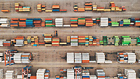 Aerial view of very well organised and colourful containers at Malaga Port, Spain