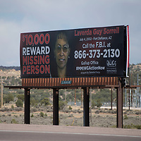 A billboard of missing person Laverda Guy Sorrell was installed on Hwy 491 May 5 north of Gallup. The billboard is sponsored by the National Indigenous Women's Resource Center to bring attention to Laverda Guy Sorrell who has been missing since 2002 from Fort Defiance.
