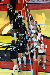 19 November 2010: the Redbirds and Sycamores greet each other during an NCAA volleyball match between the Sycamores of Indiana State and the Illinois State Redbirds at Redbird Arena in Normal Illinois.