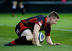 Dragons' Dafydd Howells scores his sides first try<br /> <br /> Photographer Simon King/Replay Images<br /> <br /> 1 Round 1 - Dragons v Benetton Treviso - Saturday 1st September 2018 - Rodney Parade - Newport<br /> <br /> World Copyright © Replay Images . All rights reserved. info@replayimages.co.uk - http://replayimages.co.uk