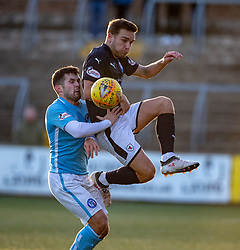 Forfar Athletic's Dale Hilson an dRaith Rovers Calum Crane. Forfar Athletic 3 v 2 Raith Rovers, Scottish Football League Division One played 27/10/2018 at Forfar Athletic's home ground, Station Park, Forfar.