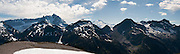 Mount Shuksan and Mount Baker, seen from Hannegan Peak, North Cascades, Washington, USA. Panorama stitched from 3 images.