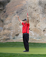 """22 JAN 15 Pat Reed celebrates on 16 during Sunday""""s Final Round at The Humana Challenge at PGA West, in LaQuinta, California.(photo credit : kenneth e. dennis/kendennisphoto.com)"""