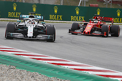 May 11, 2019 - Barcelona, Catalonia, Spain - Mercedes driver Lewis Hamilton (44) of Great Britain and Ferrari driver Sebastian Vettel (5) of Germany during F1 Grand Prix free practice celebrated at Circuit of Barcelona 11th May 2019 in Barcelona, Spain. (Credit Image: © Mikel Trigueros/NurPhoto via ZUMA Press)