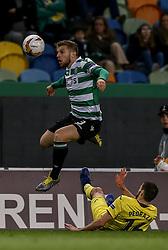 February 14, 2019 - Na - Lisbon, 02/14/2019 - Sporting Clube de Portugal received the Villarreal Club de Fútbol tonight at the Estádio de Alvalade in the first leg of the 16-game Europa League 2018/2019. Stefan Ristovski  (Credit Image: © Atlantico Press via ZUMA Wire)