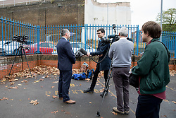 © Licensed to London News Pictures. 15/11/2016. London, UK. Dave Todd of the Prison Officers Association, National Executive Committee speaks to press outside H.M. Pentonville Prison, whilst prison officers strike. Less than ten days ago, two prisoners escaped from Pentonville. Over 10,000 prison officers are taking part in a mass strike today, over health and safety concerns. Photo credit : Tom Nicholson/LNP