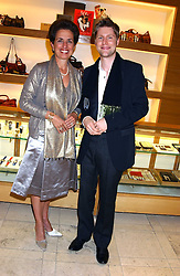 """CHRISTOPHER BAILEY and ROSE MARIE BRAVO and at a party hosted by Christopher Bailey to celebrate the launch of """"The Snippy World of New Yorker Fashion Artist Michael Roberts"""" held at Burberry, 21-23 New Bond Street, London on 20th September 2005.<br /><br />NON EXCLUSIVE - WORLD RIGHTS"""